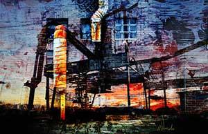 Grafische kunstwerk door Wim Noordam, fabriek