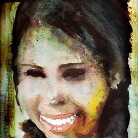 Kleurrijk gezicht van een vrouw. Aquarel, fotobewerking.